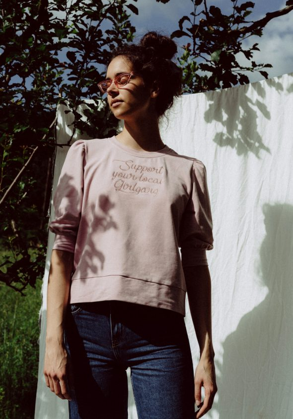 Support your local girlgang / Cropped sleeve sweatshirt